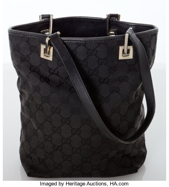 dce4020f26f Heritage Vintage  Gucci Black Monogram Canvas with Leather Trim ...