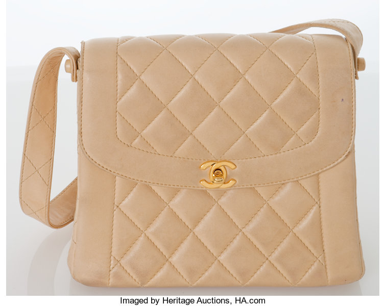bd7b1abe1fe7f2 Luxury Accessories:Bags, Heritage Vintage: Chanel Beige Lambskin Leather  Quilted Tote Bag.