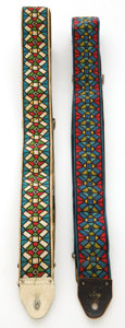 Musical Instruments:Miscellaneous, 1960s-1970s Vintage Ace Jimi Hendrix Style Stained Glass GuitarStrap Lot of 2....
