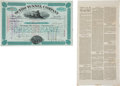 Western Expansion:Goldrush, Adolph Sutro and the Comstock Lode: Stock Certificate and Legal Notice.... (Total: 2 Items)