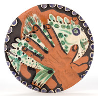 A MADOURA POTTERY EARTHENWARE BOWL AFTER PABLO PICASSO: HANDS WITH FISH Designed by Pablo P