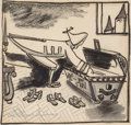 Paintings, LUDWIG BEMELMANS (American, 1898-1962). The Castle Number Nine, interior illustration, 1937. Watercolor, ink, and charco...