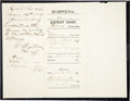 "Autographs:Celebrities, W. B. ""Bat"" Masterson: A Highly Important 1879 Autograph Documentas Sheriff of Ford County, Kansas (Dodge City). ..."