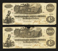 Confederate Notes:1862 Issues, T39 $100 1862 Two Consecutive Examples.. ... (Total: 2 notes)