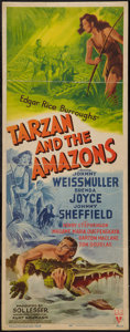"Movie Posters:Adventure, Tarzan and the Amazons (RKO, 1945). Insert (14"" X 36""). Adventure....."