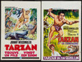 "Movie Posters:Adventure, Tarzan and His Mate & Other Lot (MGM, R-1960s). Belgians (2)(14"" X 21.5"" & 14"" X 21""). Adventure.. ... (Total: 2 Items)"