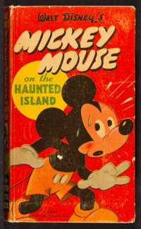 """Mickey Mouse on the Haunted Island (Whitman Publishing Co, 1950). Hard Cover Book (Multiple Pages, 3.5"""" X 5.5""""..."""