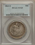 Seated Half Dollars: , 1863-S 50C VF25 PCGS. PCGS Population (3/130). NGC Census: (1/83).Mintage: 916,000. Numismedia Wsl. Price for problem free...