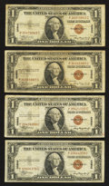 Small Size:World War II Emergency Notes, Fr. 2300 $1 1935A Hawaii Silver Certificates. Four Examples. Fine-Very Fine or Better.. ... (Total: 4 notes)