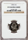 Proof Jefferson Nickels: , 1990-S 5C PR70 Ultra Cameo NGC. NGC Census: (62). PCGS Population(107). Numismedia Wsl. Price for problem free NGC/PCGS c...