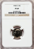 Proof Roosevelt Dimes: , 1968-S 10C PR69 NGC. NGC Census: (91/0). PCGS Population (162/0).Mintage: 3,041,506. Numismedia Wsl. Price for problem fre...