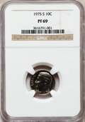 Proof Roosevelt Dimes, 1975-S 10C PR69 NGC. NGC Census: (21/0). PCGS Population (8/0).Mintage: 2,845,450. Numismedia Wsl. Price for problem free ...