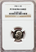 Proof Roosevelt Dimes: , 1982-S 10C PR70 Ultra Cameo NGC. NGC Census: (74). PCGS Population(148). Numismedia Wsl. Price for problem free NGC/PCGS ...