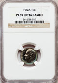 Proof Roosevelt Dimes: , 1986-S 10C PR69 Ultra Cameo NGC. NGC Census: (324/72). PCGSPopulation (2799/166). Numismedia Wsl. Price for problem free ...