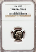 Proof Roosevelt Dimes: , 1986-S 10C PR70 Ultra Cameo NGC. NGC Census: (72). PCGS Population(166). Numismedia Wsl. Price for problem free NGC/PCGS ...