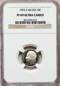 Proof Roosevelt Dimes: , 1993-S 10C Silver PR69 Ultra Cameo NGC. NGC Census: (708/109). PCGSPopulation (2205/130). Numismedia Wsl. Price for probl...