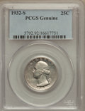 Washington Quarters, 1932-S 25C -- Cleaning -- Genuine PCGS. This PCGS number ending in92 suggests Cleaning as the reason, or perhaps one of th...