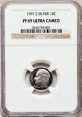 Proof Roosevelt Dimes: , 1997-S 10C Silver PR69 Ultra Cameo NGC. NGC Census: (697/228). PCGSPopulation (2337/131). Numismedia Wsl. Price for probl...