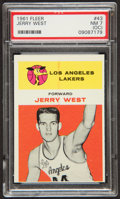 Basketball Cards:Singles (Pre-1970), 1961 Fleer Jerry West #43 PSA NM 7 (OC)....