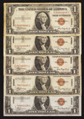 Small Size:World War II Emergency Notes, Fr. 2300 $1 1935A Hawaii Silver Certificates. Five Examples. Very Fine.. ... (Total: 5 notes)