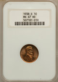 Lincoln Cents: , 1938 1C MS67 Red NGC. NGC Census: (1074/0). PCGS Population(261/0). Mintage: 156,696,736. Numismedia Wsl. Price for proble...