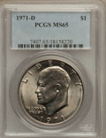 Eisenhower Dollars: , 1971-D $1 MS65 PCGS. PCGS Population (2342/828). NGC Census: (1157/608). Mintage: 68,587,424. Numismedia Wsl. Price for pro...