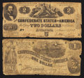 Confederate Notes:1862 Issues, T42 $2 1862 PF-3 Cr. 336;. T44 $1 1862 PF-2 Cr. 340.. ... (Total: 2notes)