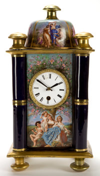 A KPM PORCELAIN AND GILT METAL TEMPLE-FORM CLOCK Circa 1890 Marks to porcelain: (underglaze blue scepter)