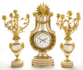 Clocks & Mechanical:Clocks, A FRENCH LOUIS XVI-STYLE MARBLE AND GILT BRONZE LYRE-FORM CLOCK GARNITURE . Maker unidentified, Paris, France, circa 1850-18... (Total: 3 Items)