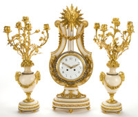 A FRENCH LOUIS XVI-STYLE MARBLE AND GILT BRONZE LYRE-FORM CLOCK GARNITURE Maker unidentified, Paris, France, circ