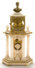 Clocks & Mechanical:Clocks, A FRENCH LOUIS XVI-STYLE ALABASTER AND PATINATED BRONZE PORTICO CLOCK. Maker unidentified, Paris, France, circa 1830-1850. U...
