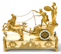 A FRENCH EMPIRE GILT BRONZE AND METAL FIGURAL MANTEL CLOCK Maker unknown, Paris, France, circa 1800-1825 Unmark