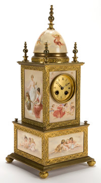 AN AUSTRIAN PORCELAIN AND GILT METAL CLOCK IN THE STYLE OF ROYAL VIENNA Attributed to Royal Vienna, Vienna, Austr