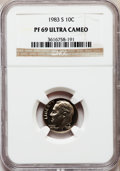 Proof Roosevelt Dimes: , 1983-S 10C PR69 Ultra Cameo NGC. NGC Census: (531/161). PCGSPopulation (2804/142). Numismedia Wsl. Price for problem free...