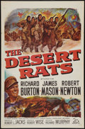 "Movie Posters:War, The Desert Rats (20th Century Fox, 1953). One Sheet (27"" X 41"").War. Flat Folded.. ..."