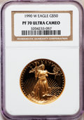 Modern Bullion Coins, 1990-W G$50 Set of Four Gold Eagles PR70 Ultra Cameo NGC. This setincludes: 1990-P Tenth-Ounce $5, 1990-P Quarter-Ounce $1... (Total:4 coins)