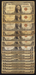 Small Size:World War II Emergency Notes, Fr. 2300 $1 1935A Hawaii Silver Certificates. Fifteen Examples. Very Good.. ... (Total: 15 notes)