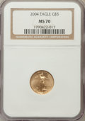 Modern Bullion Coins, 2004 G$5 Tenth-Ounce Gold Eagle MS70 NGC. NGC Census: (3691). PCGSPopulation (240). Numismedia Wsl. Price for problem fre...
