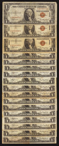 Small Size:World War II Emergency Notes, Fr. 2300 $1 1935A Hawaii Silver Certificates. Seventeen Examples. Fine-Very Fine or Better.. ... (Total: 17 notes)