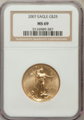 Modern Bullion Coins, 2007 $25 Half-Ounce Gold Eagle MS69 NGC. NGC Census: (12902/5716).PCGS Population (87/14). Numismedia Wsl. Price for prob...