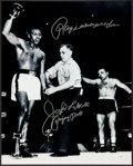 """Boxing Collectibles:Autographs, Jake LaMotta """"Ray I Never Went Down"""" Signed Oversized Photograph. ..."""