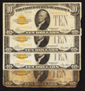Small Size:Gold Certificates, Fr. 2400 $10 1928 Gold Certificates. Four Examples. Very Good-Very Fine.. ... (Total: 4 notes)