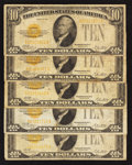 Small Size:Gold Certificates, Fr. 2400 $10 1928 Gold Certificates. Five Examples. Very Good or Better.. ... (Total: 5 notes)