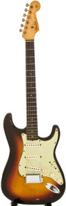 Musical Instruments:Electric Guitars, 1962 Fender Stratocaster Sunburst Solid Body Electric Guitar ,Serial # 90042....