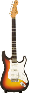 Musical Instruments:Electric Guitars, 1966 Fender Stratocaster Sunburst Solid Body Electric Guitar,Serial # 166116....