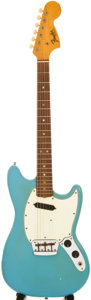 Musical Instruments:Electric Guitars, 1966 Fender Musicmaster II Daphne Blue Solid Body Guitar, Serial # 133806. ...
