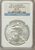 Modern Bullion Coins, 2011-S $1 Silver Eagle, 25th Anniversary MS69 NGC. NGC Census:(938/1603). PCGS Population (881/585). Numismedia Wsl. Pric...
