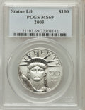 Modern Bullion Coins: , 2003 P$100 One-Ounce Platinum Eagle MS69 PCGS. PCGS Population(1807/10). NGC Census: (557/49). Numismedia Wsl. Price for ...