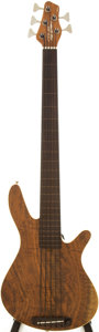 Musical Instruments:Bass Guitars, 2000s Rob Allen 5-String Brown Stain Fretless Electric Bass Guitar, Serial # 565....