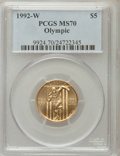 Modern Issues, 1992-W G$5 Olympic Gold Five Dollar MS70 PCGS. PCGS Population (346). NGC Census: (0). Mintage: 27,732. Numismedia Wsl. Pri...
